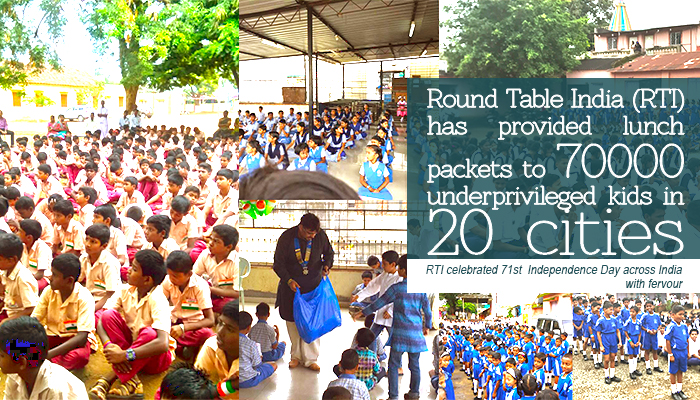 Round Table India (RTI) has provided lunch packets to 70000 underprivileged kids in 20 cities