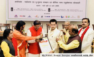 Nikhil Kumar Sarojaz conferred with the 'Start Up Entrepreneur Award' by Paryavaran Ratna Award