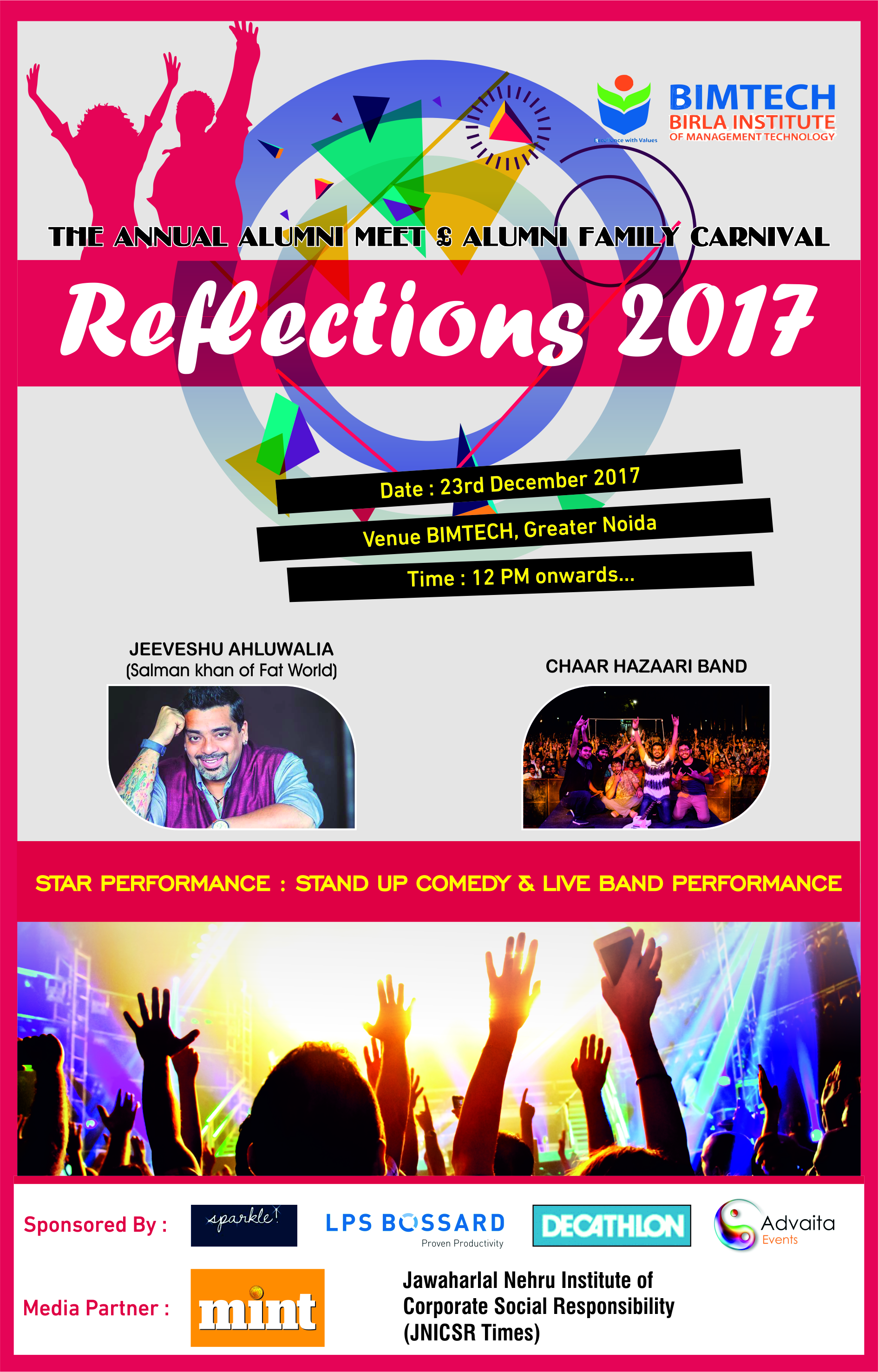 Birla Institute of Management Technology will host the super special Annual Alumni meet and Carnival, 'Reflections 2017' on December 23, 2017.